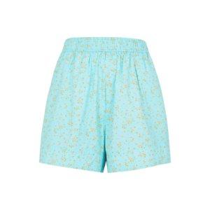 Ganni Blue Floral-print Cotton Shorts