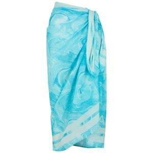 Ganni Blue Printed Cotton Sarong