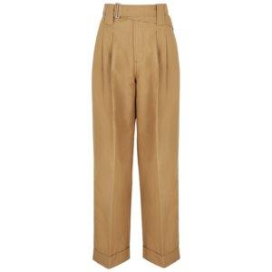Ganni Camel Cotton-blend Trousers