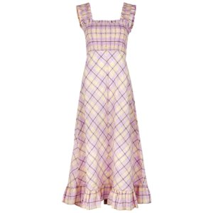 Ganni Checked Smocked Seersucker Midi Dress