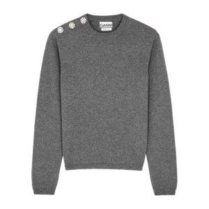 Ganni Dark Grey Embellished Cashmere Jumper