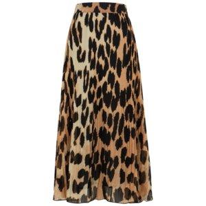 Ganni Leopard-print Plissé Georgette Midi Skirt
