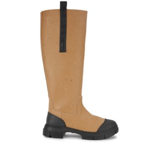 Ganni Sand Rubberised Knee-high Boots