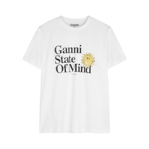 Ganni White Printed Cotton T-shirt