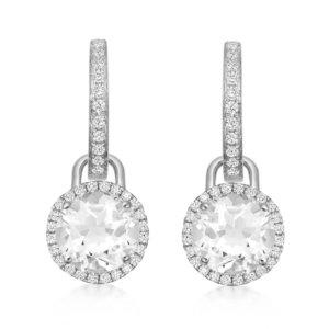 Grace 18ct White Gold, White Topaz & Diamond Mini Detachable Drops Earrings