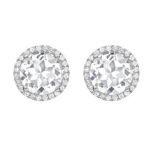 Grace 18ct White Gold, White Topaz and Diamond Round Stud Earrings