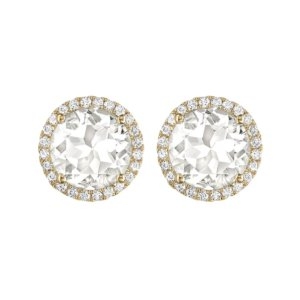 Grace 18ct Yellow Gold, White Topaz and Diamond Earrings