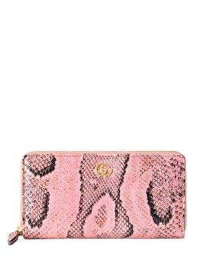 Gucci GG Marmont python zip-around wallet - Pink