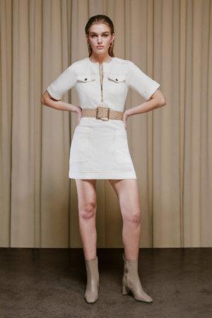 Karen Millen Belted Denim Shift Dress - Off, White