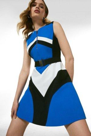 Karen Millen Compact Stretch Colourblock A Line Dress -, Blue
