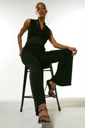 Karen Millen Compact Stretch Viscose Contrast Tux Jumpsuit -, Black