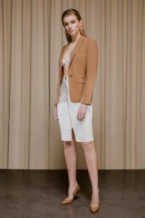Karen Millen Corset Seam Denim Pencil Skirt - Off, White