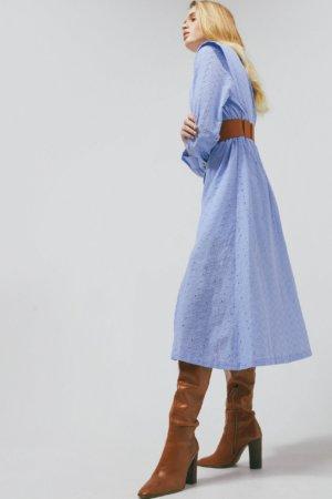 Karen Millen Cotton Broderie Belted Long Dress -, Pale Blue