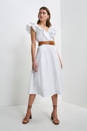 Karen Millen Cotton Poplin Ruffle Dress -, White