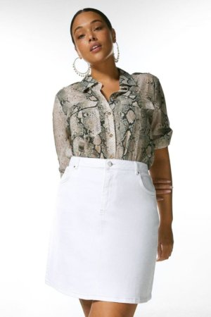 Karen Millen Curve 5 Pocket Denim Skirt - Off, White