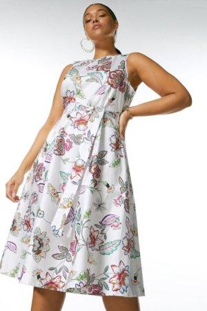 Karen Millen Curve Batik Cotton Poplin Belted Dress -, White