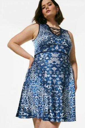 Karen Millen Curve Jacquard Lacing Knitted Dress -, Blue