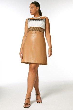 Karen Millen Curve Leather Snaffle Trim Mini Skirt -, Tan