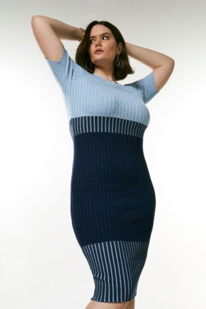 Karen Millen Curve Pointelle Colour Block Knit Dress -, Blue