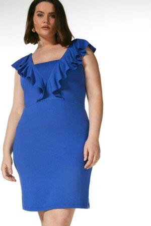 Karen Millen Curve Ponte Ruffle Dress -, Blue