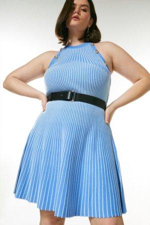 Karen Millen Curve Ripple Stitch Belted Knit Dress -, Pale Blue