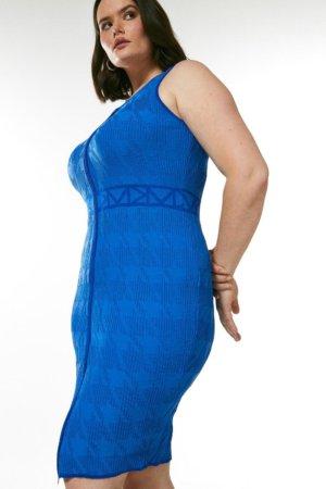 Karen Millen Curve Sporty Jacquard Knitted Logo Dress -, Blue