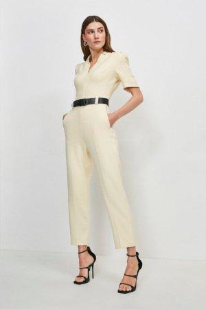 Karen Millen Forever Jumpsuit -, Cream