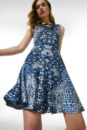 Karen Millen Jacquard Lacing Detail Knit Dress -, Blue