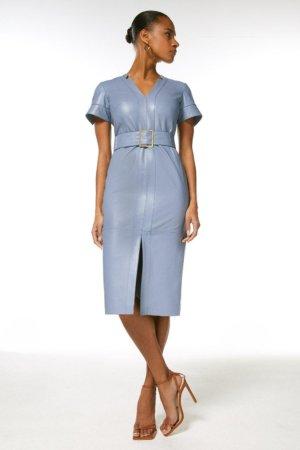 Karen Millen Leather Forever Short Sleeve Pencil Dress -, Pale Blue