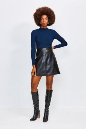 Karen Millen Leather Snaffle Trim Mini Skirt -, Black