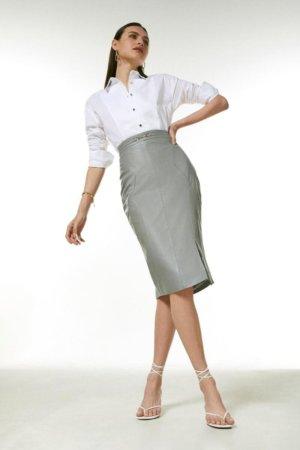 Karen Millen Leather Snaffle Trim Pencil Skirt -, Grey