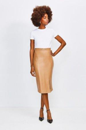 Karen Millen Leather Snaffle Trim Pencil Skirt -, Tan