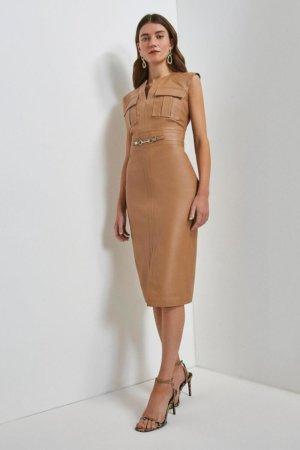 Karen Millen Leather Snaffle Trim Pocket Dress -, Camel