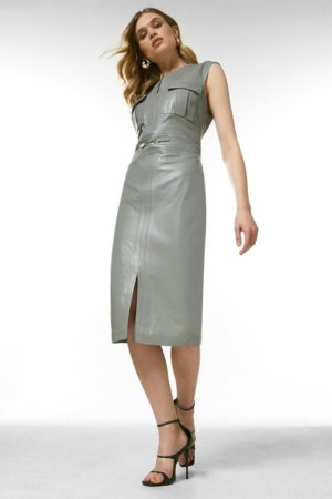 Karen Millen Leather Snaffle Trim Pocket Dress -, Grey