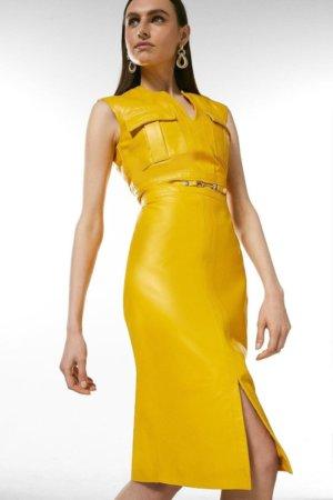 Karen Millen Leather Snaffle Trim Pocket Dress -, Yellow