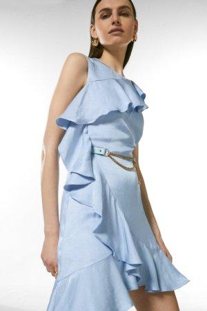 Karen Millen Linen Mix Ruffle Belted Dress -, Pale Blue