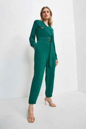 Karen Millen Luxe Gold Trim Detail Jumpsuit -, Green