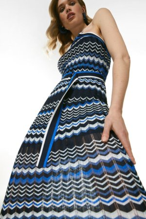 Karen Millen Pattern Knit Belted Halter Neck Dress -, Blue