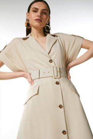 Karen Millen Polished Wool Blend Button Utility Dress -, Brown
