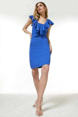 Karen Millen Ponte Ruffle Jersey Dress -, Blue