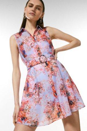 Karen Millen Soft Floral Sleeveless Organza Shirt Dress -, Light Blue
