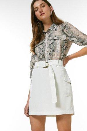 Karen Millen Tencel Belted Mini Skirt -, Brown