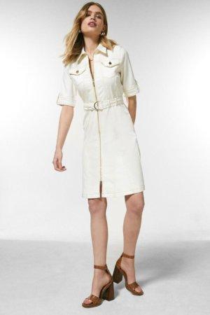 Karen Millen Zip Front Denim Dress -, White