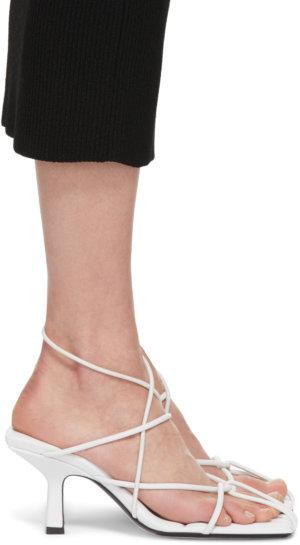 Khaite White 'The Monza' Heeled Sandals