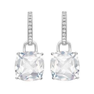 Kiki Classics 18ct White Gold, Cushion Cut White Topaz and Diamond Detachable Hoop Earrings