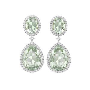Kiki Classics 18ct White Gold Green Amethyst Pear And Oval Drop Diamond Earrings