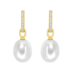 Kiki Classics 18ct Yellow Gold, Pearl Drops with Diamond Hoop Earrings