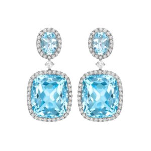 Kiki Signatures 18ct White Gold Blue Topaz And Diamond Drop Earrings