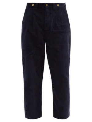 Loewe - Cropped Straight-leg Cotton-corduroy Trousers - Mens - Navy