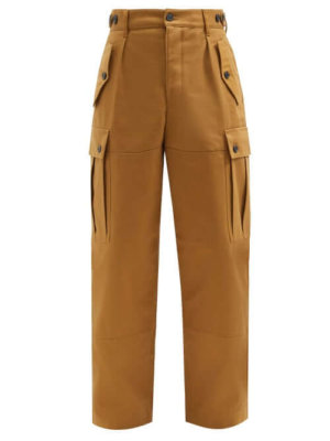 Loewe - High-rise Cotton-twill Cargo Trousers - Mens - Beige
